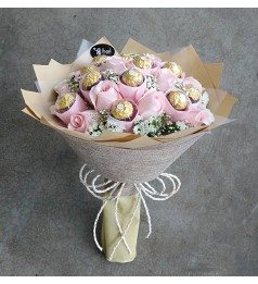 Roses and Ferrero Rocher Chocolate Hand Bouquet