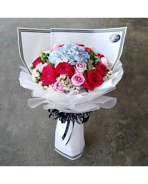 Hydrangea and Roses Hand Bouquet