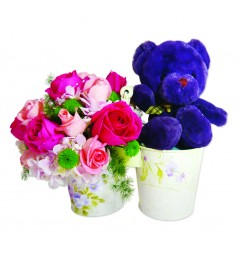 "The Way You Make Me Feel. 6"" Bear & Flower Basket"