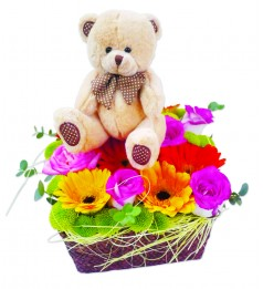 "The Way You Look Tonight. 6"" Bear & Flower Basket"