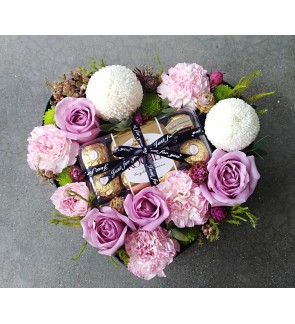 Ferrero Rocher Chocolate in Heart Shape Flower Box
