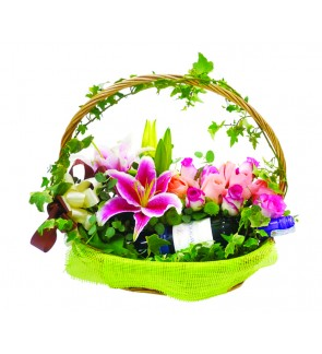 Flower Basket with Wine