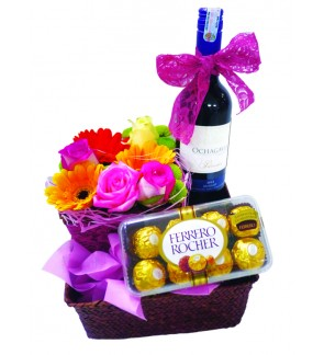 Flower basket with Wine & Ferrero Rocher
