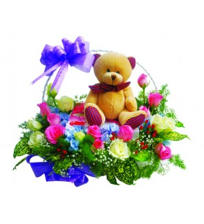 Flower Basket with Bear & Cake