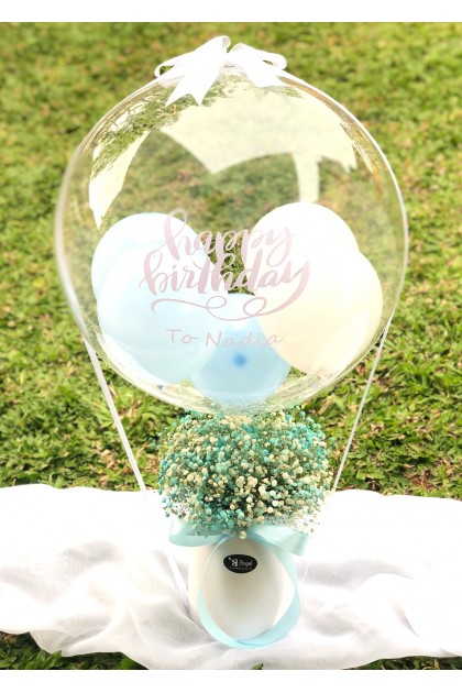 Sky Blue Baby Breath and Personalized Bobo Balloon