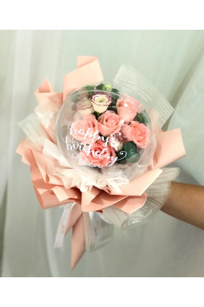 Belle Pink Roses In Bobo Balloon